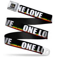 "Bob Marley One Love Seatbelt Belt  (24-38"")"