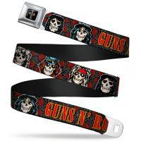 """Gun n Roses Cross Skulls Seatbelt Belt  (24-38"""")"""