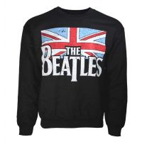 Beatles Distressed Flag Crew Neck Sweatshirt