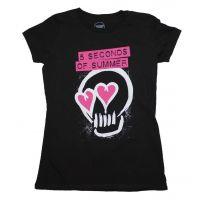 5 Seconds of Summer Pink Heartskull Junior's T-Shirt