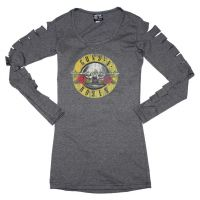 Guns n Roses Distressed Logo Cut Long Sleeve Women's Tee